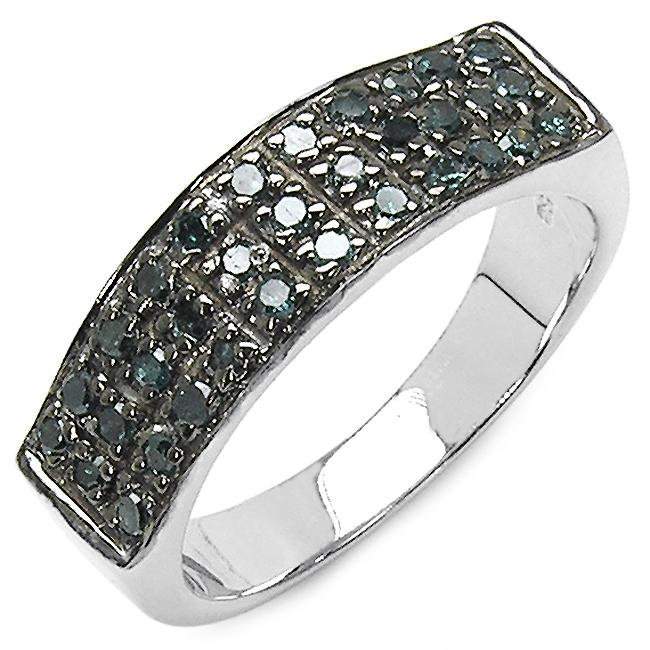 Malaika Sterling Silver 1/3ct TDW Blue Diamond Ring