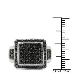 Malaika Sterling Silver 5/8ct TDW Black Diamond Cocktail Ring - Thumbnail 2