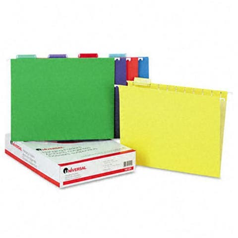 Universal Hanging File Folders, Letter, Assorted Colors, 25/Box