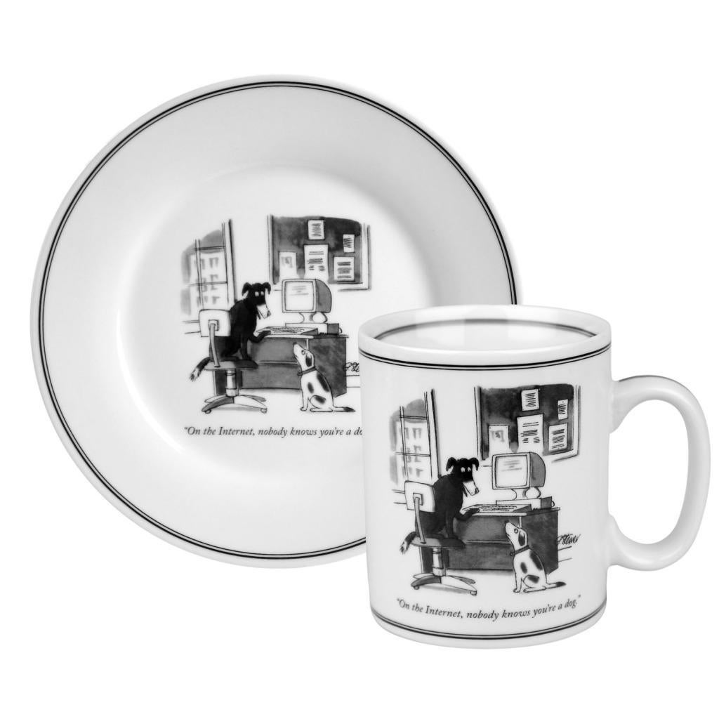 Konitz New Yorker Collection 'Nobody Knows You're a Dog' Mug and Plate Set