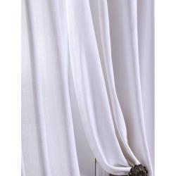 Exclusive Fabrics White Textured Cotton Linen 108-inch Curtain Panel - Thumbnail 1