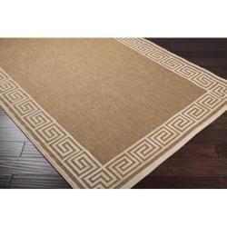Woven Portera Indoor/Outdoor Geo Border Rug (3'9 x 5'8) - Thumbnail 1