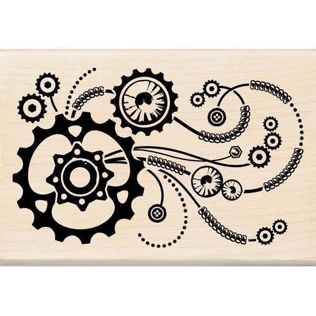 Inkadinkado Steampunk Flourish Mounted Rubber Stamp