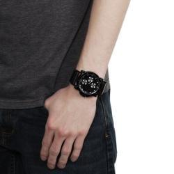 Geneva Platinum Men's Chronograph-style Leather Strap Watch