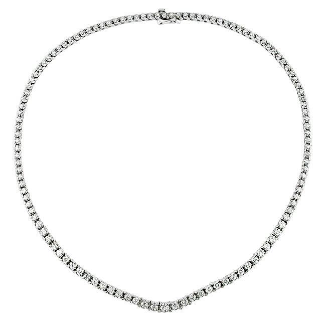 14k White Gold 4 1/3ct TDW Graduated Diamond Necklace (G-H, SI2)