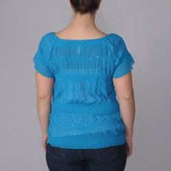 Journee Collection Women's Plus Smocked Detail Short-sleeve Top