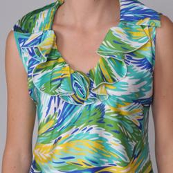 Piano Women's Ruffled Collar Sleeveless Blouse