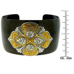 Black and Two-tone Stainless Steel Clear Crystal Cuff Bracelet - Thumbnail 2