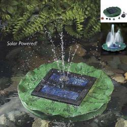 Solar-powered Lit Floating Lily Fountain - Thumbnail 1