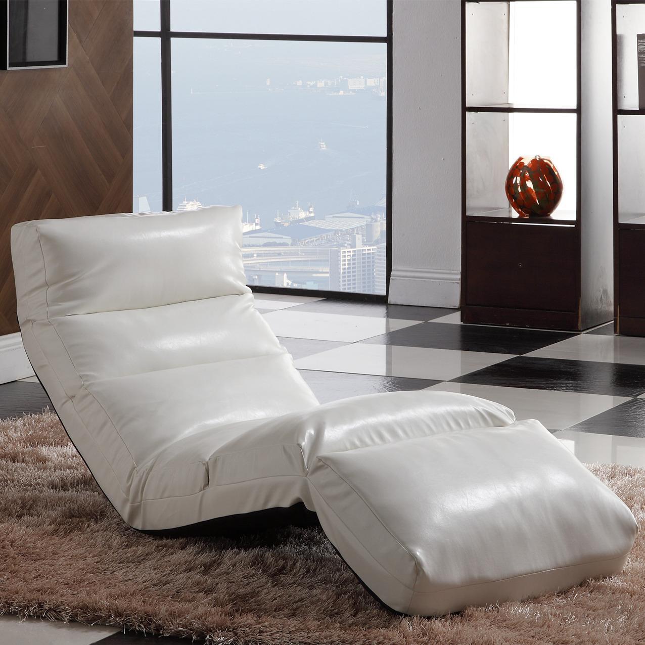 Naomi White Memory Foam Floor Lounge Chair Free Shipping