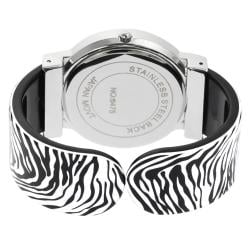 Geneva Platinum Women's Zebra Cuff Watch - Thumbnail 1
