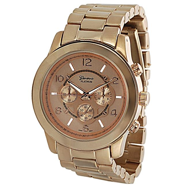 Geneva Platinum Men's Coppertone Chronograph-style Link Watch