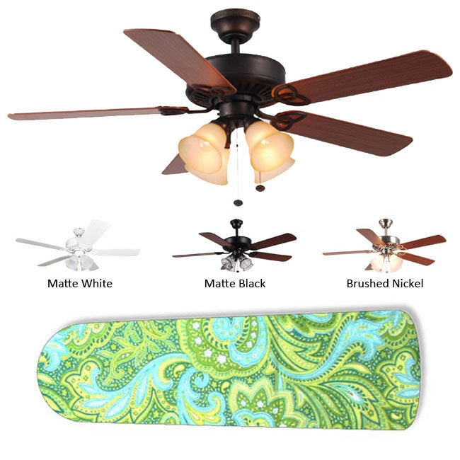 New Image Concepts 4-Lamp 'Seaside Paisley' Ceiling Fan