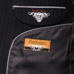 Men's Black Tonal Stripe Wool/Silk Blend 3-button Suit