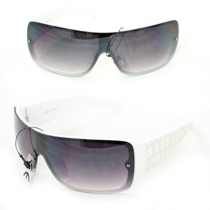 Men's P1490 White Plastic Wrap Sunglasses