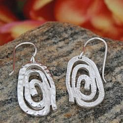 Sterling Silver Textured Spiral Drop Earrings (Mexico)
