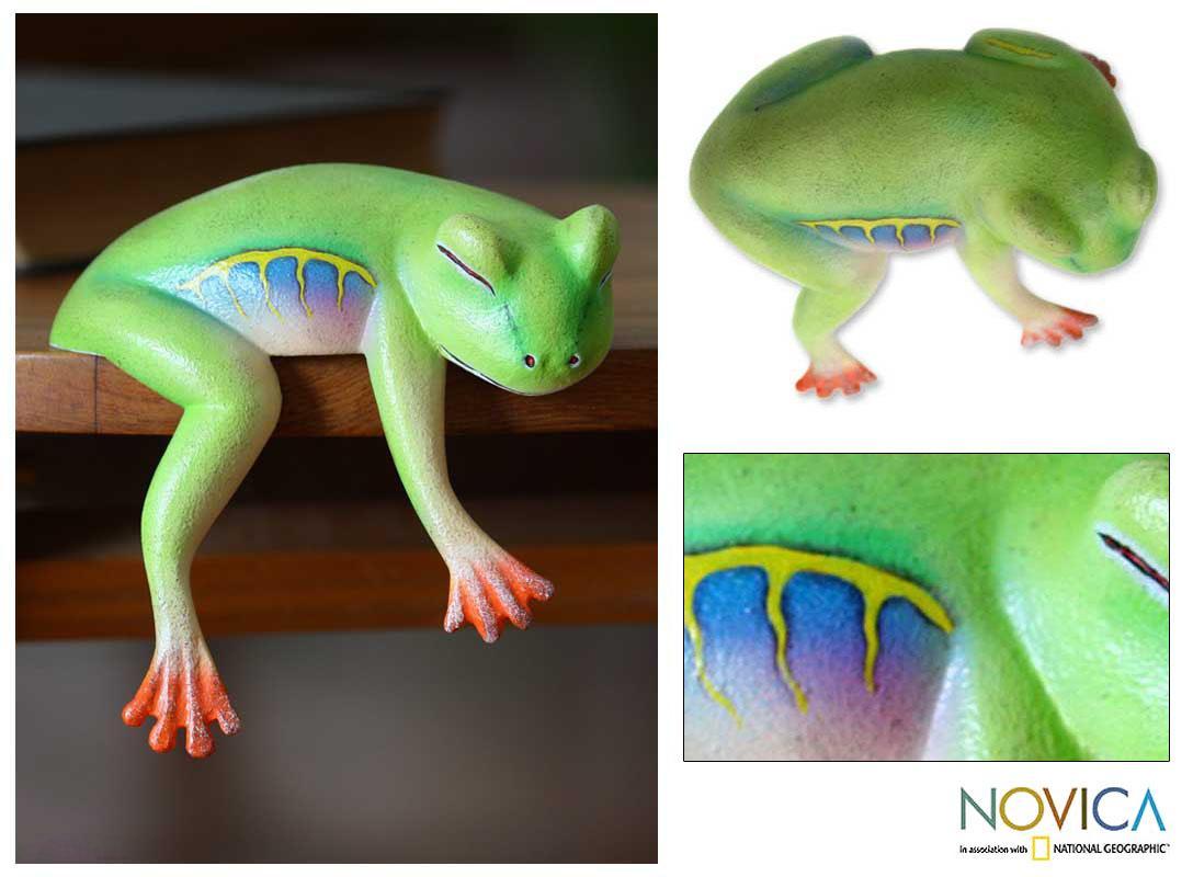 Wood 'Sleeping Tree Frog' Sculpture, Handmade in Indonesia