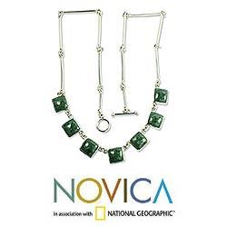 Love's Riches Modern Square Cut Bezel Set Green Jade Pendants on 925 Sterling Silver Chain Womens Collar Necklace (Guatemala) - Thumbnail 1