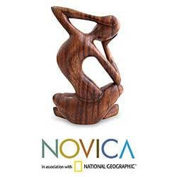 Wood 'How Do I Look' Sculpture, Handmade in Indonesia