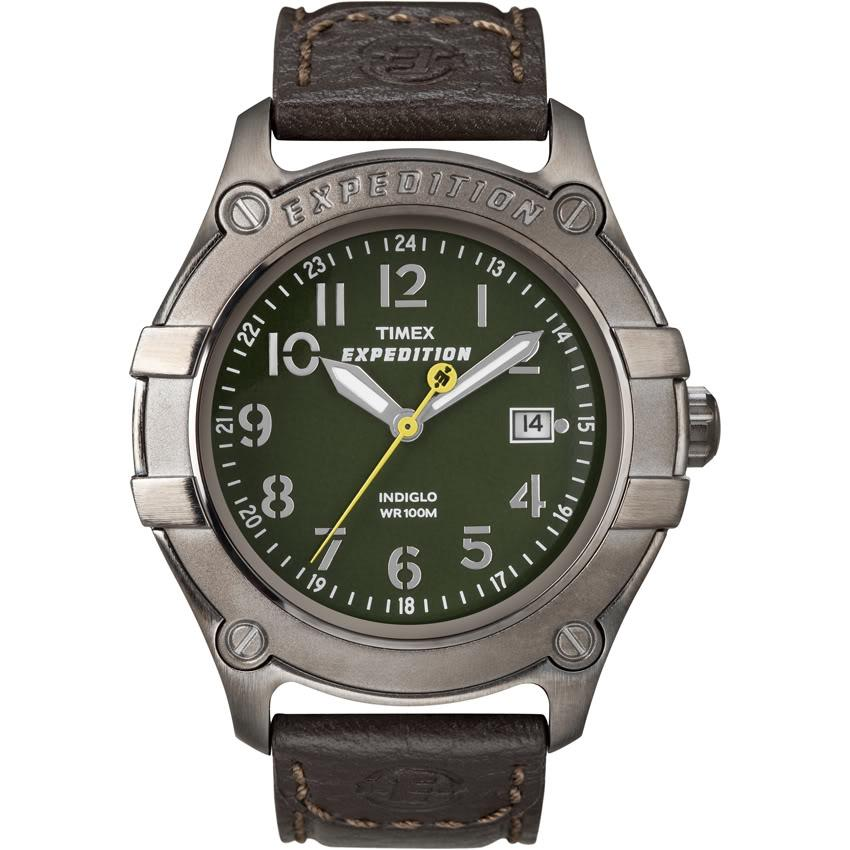 Timex T498049J Men's Expedition Trail Series Metal Field Brown Leather Strap Watch