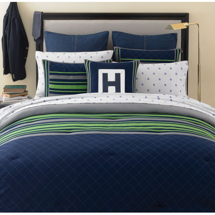 Tommy Hilfiger Rugby Navy Full Queen Comforter Set Free