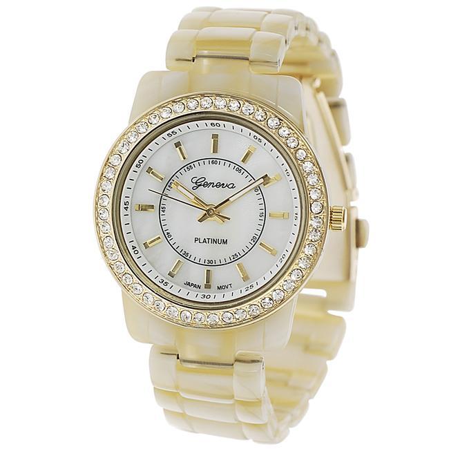 Geneva Platinum Women's Rhinestone-accented Ivory Link Watch
