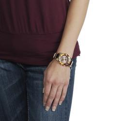 Geneva Platinum Women's Chronograph-style Tortoise Link Watch - Thumbnail 2