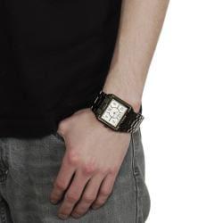Geneva Platinum Men's Brushed Finish Link Watch