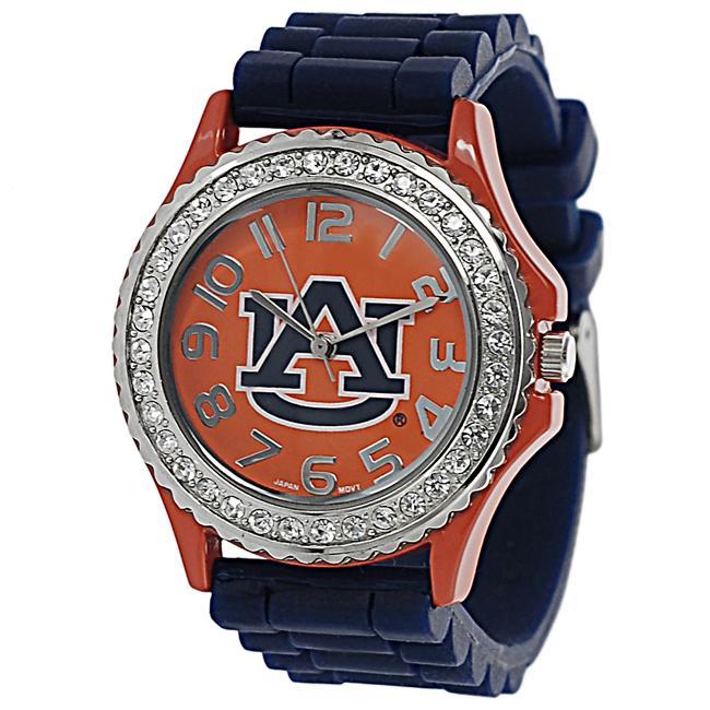 Geneva Platinum Women's Rhinestone-accented Auburn Tigers Watch