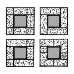 Square Mirror Wall Decor (Set of 4)