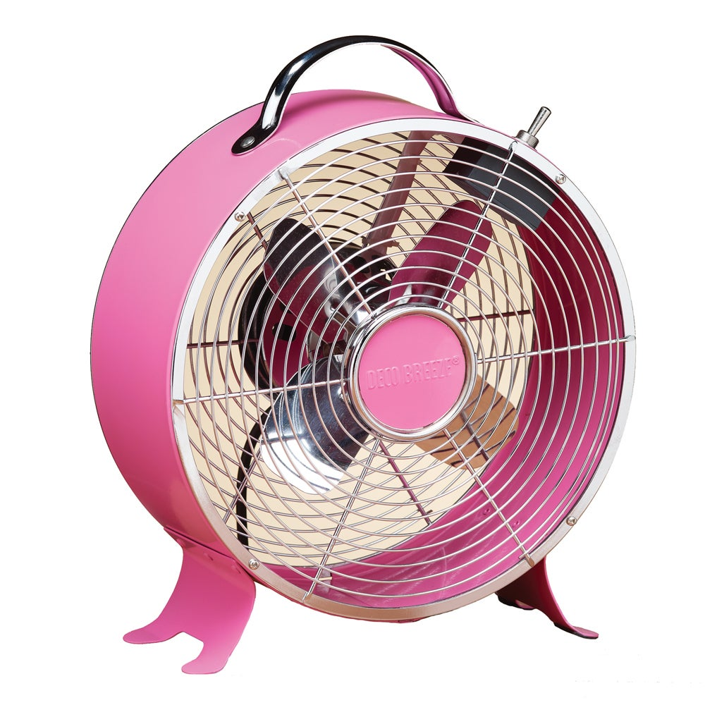 Deco Breeze Dbf0638 9 Inch Pink Retro Fan Free Shipping