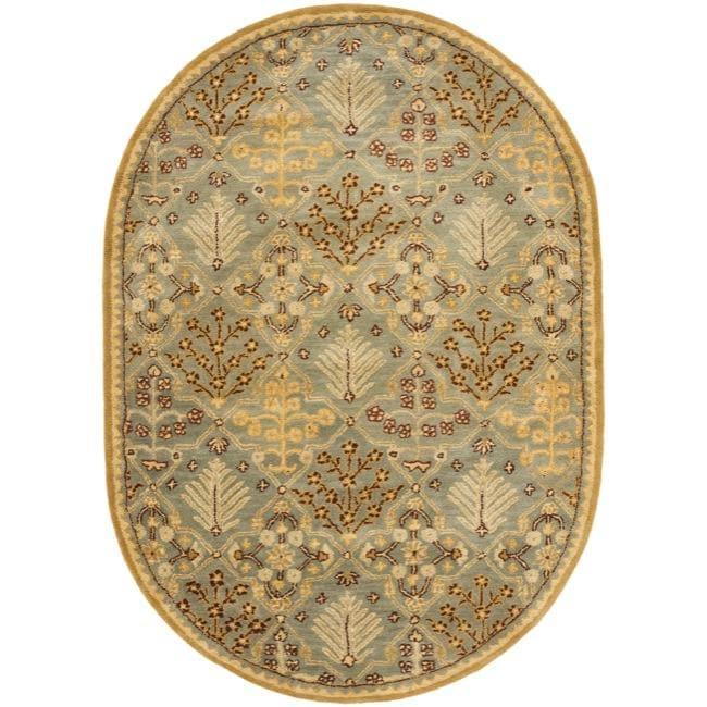 Safavieh Handmade Tree of Life Slate Blue Wool Rug (4'6 x 6'6 Oval)
