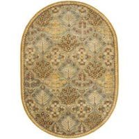 """Safavieh Handmade Tree of Life Slate Blue Wool Rug - 4'6"""" x 6'6"""" oval"""