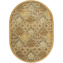 Safavieh Handmade Tree of Life Slate Blue Wool Rug (7'6 x 9'6 Oval)