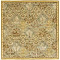 Safavieh Handmade Tree of Life Slate Blue Wool Rug - 8' x 8' Square