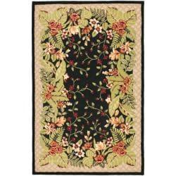 Safavieh Handmade Hidden Gardens Black/ Beige Wool Rug - 9' x 12' - Thumbnail 0
