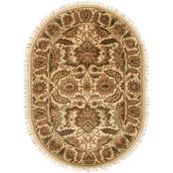 Safavieh Handmade Classic Jaipur Gold Wool Rug (4'6 x 6'6 Oval)