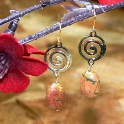 Susen Foster Goldplated 'Spirit Circle' Picasso Jasper Earrings