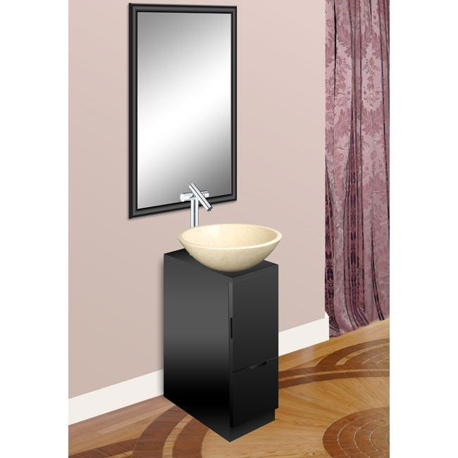 Modern Glass Black Finish Vanity with Mirror and Natural Stone Bowl Sink