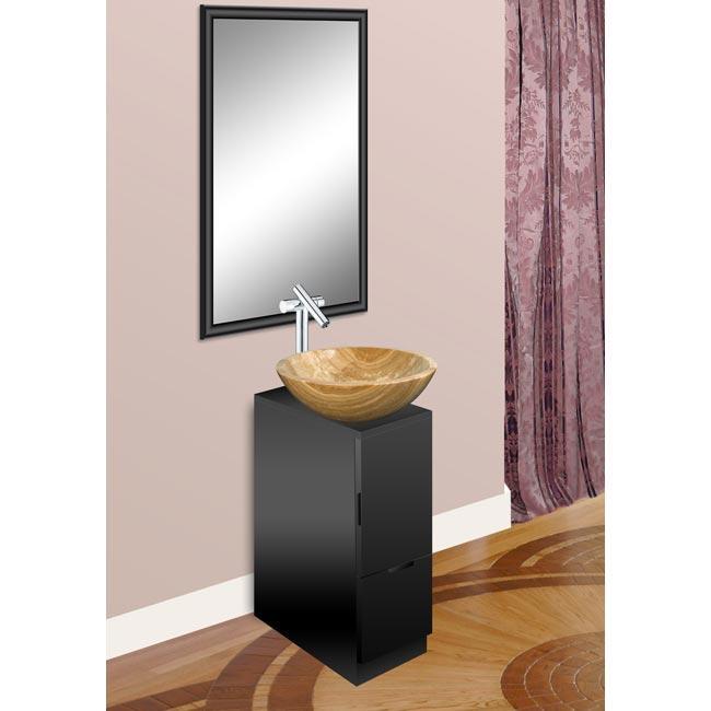 Modern Glass Black Vanity, Mirror and Serpeggiante Natural Stone Bowl