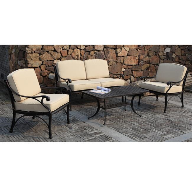 Black 4 piece cast aluminum outdoor conversation set for Summer patio furniture sale
