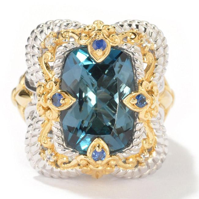 Michael Valitutti Two-tone London Blue Topaz and Sapphire Ring