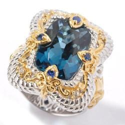 Michael Valitutti Two-tone London Blue Topaz and Sapphire Ring - Thumbnail 1