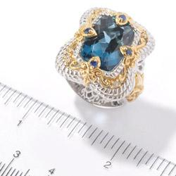 Michael Valitutti Two-tone London Blue Topaz and Sapphire Ring - Thumbnail 2