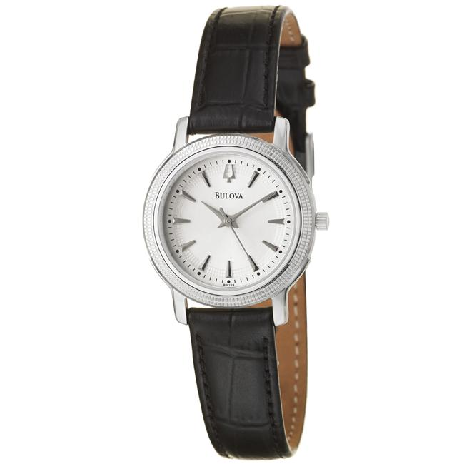 Bulova Women's 'Strap' Stainless Steel and Leather Quartz Watch