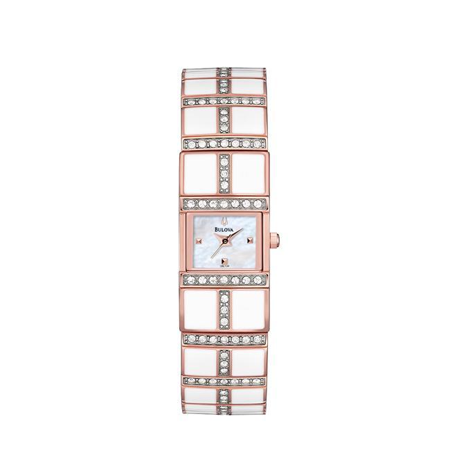 Bulova Women's 'Crystal' Rose Goldtone Steel and Enamel Quartz Watch