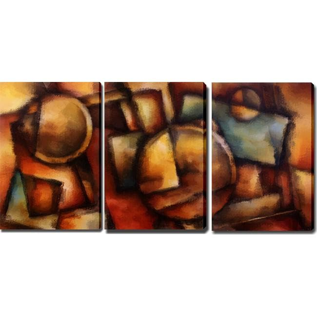 Abstract Modern 'Dark Colors' Giclee Canvas Art (Set of 3)