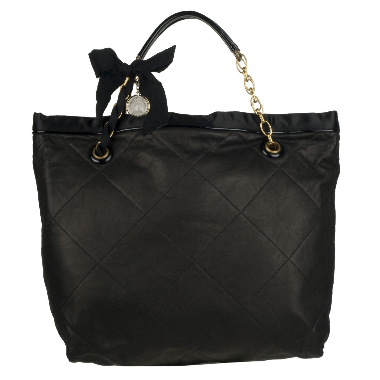 Lanvin 'Amalia' Black Quilted Leather Tote Bag - Free Shipping ...