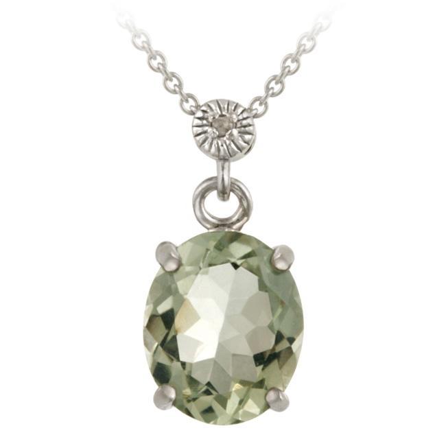 Glitzy Rocks Silver Green Amethyst and Diamond Accent Necklace