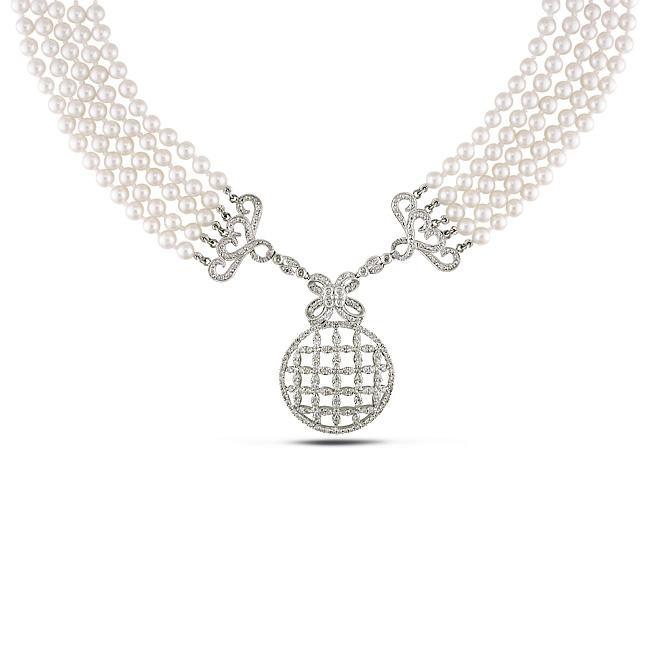 Miadora 14k Gold Akoya Pearl and 2 3/4ct TDW Diamond Necklace (H-I, I1-I2) (4-4.5 mm)